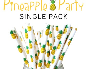 Pineapple Paper Straws / Set of 25 Tropical Hawaii Fruit Party Decor Straws / Summer Party Biodegradable Straws / Birthday Cake Pop Sticks
