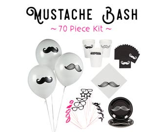 Mustache Bash Party Kit / 70Pc Black White Party Tableware Decorations / Kids Baby Birthday Plates Cups Napkins Balloons Photo Props
