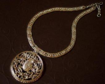 Vintage Nettie Rosenstein Sterling Silver Shield Medallion Choker Necklace
