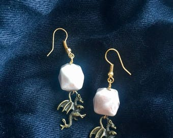 Baby Dragon Earrings with Pearly Square beads