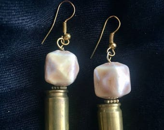 Upcyled Bullet Earrings with Pearly Cube Beads
