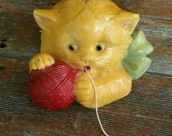 Vintage Chalkware Cat String Holder, Vintage Yarn Dispenser, 1948 Kitten Chalkware