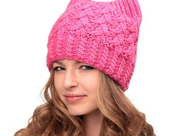 Pussy hat-Cat hat-Pink Pussy hat-Pink pussyhat-Pussy hats-Cat ear hat-Cat ears hat-Gift for her-Pussy cat hat-Resistance hat-Womens March