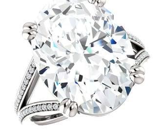 11 Carat Oval Supernova Moissanite & Diamond Split Shank Engagement Ring 18x13mm Oval Moissanite Rings, Custom Wedding Rings for Women