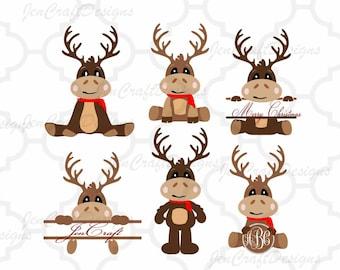Reindeer Monogram Set Peeping Reindeer, Peeking SVG,EPS Png DXF,digital Silhouette Cricut, vector Clip Art graphics Vinyl Cutting Machines