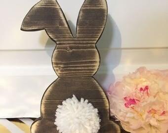 Cutout Bunny. Fluffy Bunny. Easter Bunny. Scroll Saw. Hand-cut.