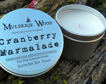 Handmade Christmas Sweet Cranberry Marmalade Scented Soy Wax Candle 30+ hours
