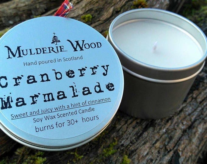 Handmade Sweet Cranberry Marmalade Scented Soy Wax Tin Candle 30+ hours burn