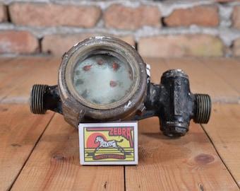 Vintage meter - Water meter - Measuring device - Bronze meter - Old gadget - Steampunk meter - Distressed project - Heavy water meter
