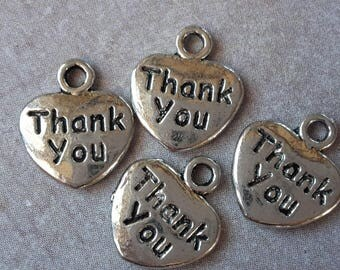 "5 pcs, hearts charms pendants hearts, tassels, Sequins, silver, Metal, ""Thank You"" 12 x 10 mm"