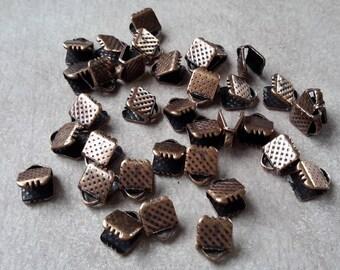 Crimp ribbon ends claws 8 x 6 mm, antique color copper