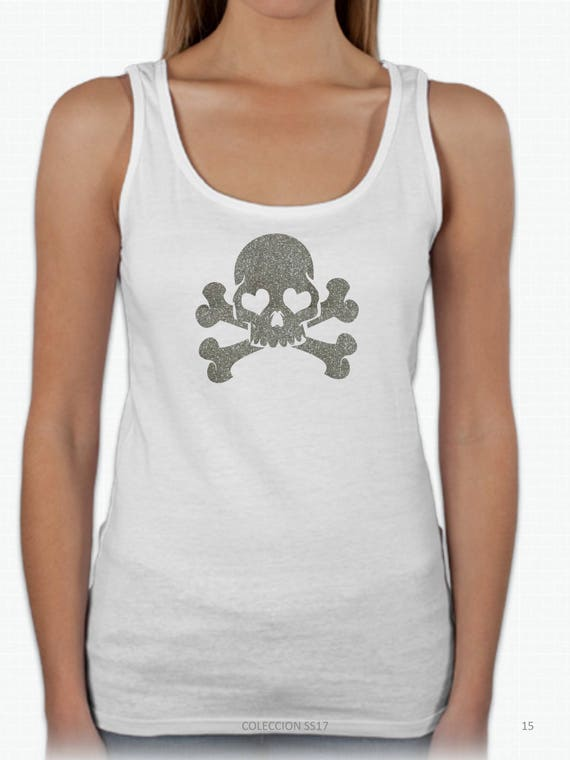 REBAJADO Round neck women t-shirt SKULL