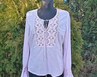 Women pink cotton blouse, womens blouse peasant, cotton chemise, summer shirt, long sleeves blouse, Vintage S/M blouse, cotton lace shirt
