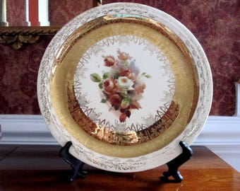 Antique Gold Trim Plate,  White Porcelain Platter Trimmed in 22 Carat, Wall Decoration