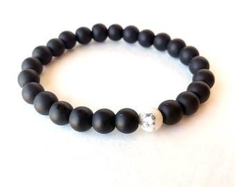 Howlite Bracelet, Marble Bracelet, Black Bead Bracelet, Black Onyx Bracelet, Matte Black Bracelet, Matte Black Bracelet, Hipster Bracelet