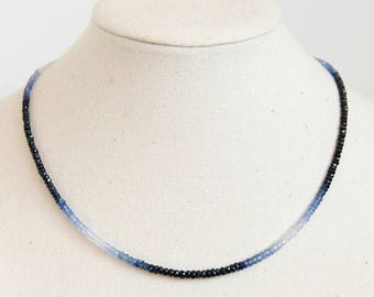 Sapphire Bead Necklace - Ombre Sapphire Necklace, Sapphire Necklace, Sapphire Choker, Blue Sapphire Necklace, September Birthstone Necklace