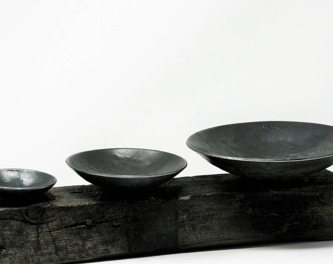 Set of Three IRON BOWLS/Sixth Anniversary iron gift/Steel anniversary hand made bowls/customized  bowl gift/rustic  bowls/gift for family