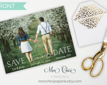 Organic Green Save The Date  | Save The Dates | Wedding Annoucement | Save Our Date | Engagement Picture
