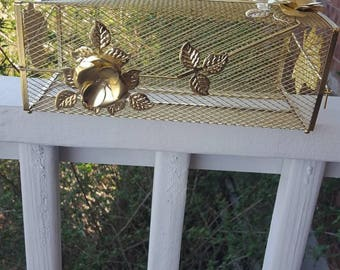 Vintage Gold Tissue Box Holder, Shabby Chic DECOR