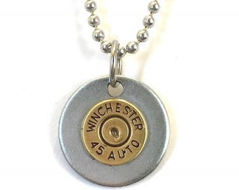 Winchester 45 Auto Brass Bullet on a Steel Washer and Aluminum Ball Chain, Men's jewelry, Women's jewelry, Recycled bullets, Valentines