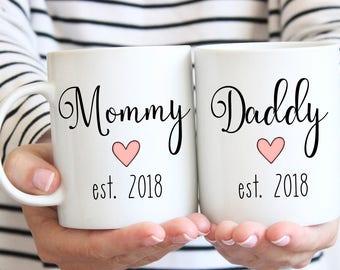 Mommy est mug, daddy est mug, mommy and daddy est mugs, parent mug, mom mug, dad mug, birth announcement mug, pregnancy announcement mug