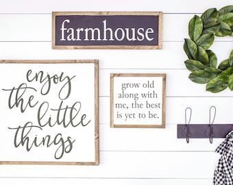 ENJOY the LITTLE THINGS | Fixer Upper Wood Sign, Farmhouse Wood Sign, Joanna Gaines, Fixer Upper Decor, Modern Farmhouse, Fixer Upper Style