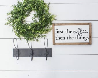 FIRST THE COFFEE |  Fixer Upper Decor, Farmhouse Signs, Farmhouse Sign Decor, Modern Farmhouse, Fixer Upper Style, Framed Wood Sign