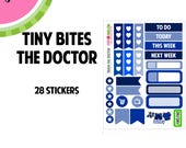 THE DOCTOR Tiny Bites Stickers | 28 Kiss-Cut Stickers | White Space, Functional Planning | TB004