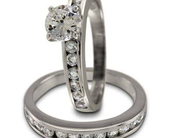 Diamond Bridal Set In 14k White Gold Featuring A Channel Set Diamond Ring Design