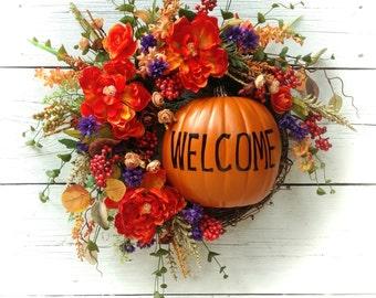 Fall Wreath,Fall Door Hanger,Pumpkin Wreath,Pumpkin Door Hanger,Pumpkin Welcome Wreath,Welcome Fall Door,Welcome Wreath,Front Door Fall