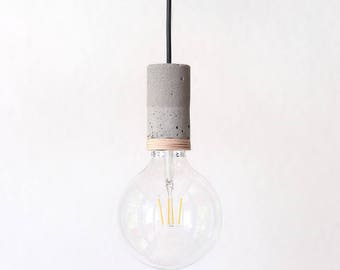 Concrete lamp holder with wood / single down lighter