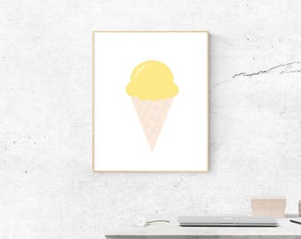 Yellow Ice Cream Cone, Digital Print, Ice Cream Cone Art, Love Art, Digital Download, Yellow Ice Cream Wall Art, Wall Prints, Printable Art