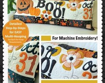 Halloween Boo! Bench Pillow (Machine Embroidery)KD527