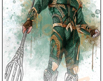 Aquaman Jason Momoa Justice League Inspired  A4 Original Print