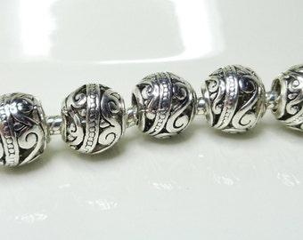 2 European beads,10mm, antique silver, arabesque pattern, Tibetan style, large hole 4mm