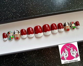 Swarovski Red Nosed Reindeer | Christmas | Santa | Rudolph | Hand Painted False Nails | Little Nail Designs