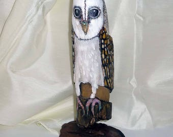 Hand-painted Driftwood sculpture, Australian Masked Owl, original, bird lover gift,Nature, home decor, wood art, great gift, timber figurine