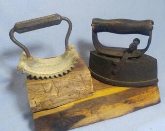 Antique Lg Pressing Iron and Geneva Hand Fluter~ Cast Iron