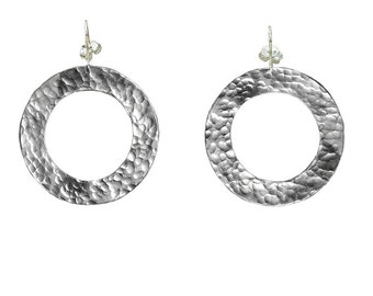 Silver dangle hoops, large circle earrings, wide drop loops, light weight jewelry, 1.50 inch hoops, hammered circles, fashion jewelry