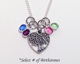 Birthstone Necklace, Family Tree Necklace, Mom Birthstone Necklace, Valentines Gift for Mom, Mom Gift, Gift for Mom, Mom Jewelry, Grandma