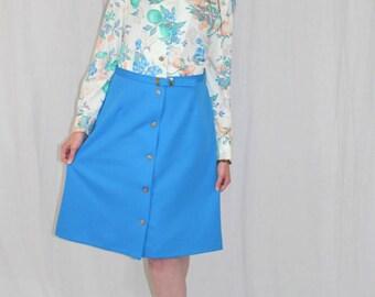 Vintage 70s Blue FRUIT Butterflies Berries Retro Day Boho A Line Midi Dress ML