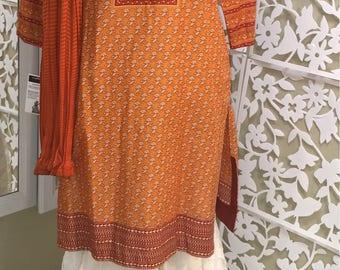 Burnt Orange Cotton Shirt with Organza Gharara Pants, Small, Pakistani Shalwar Kameez