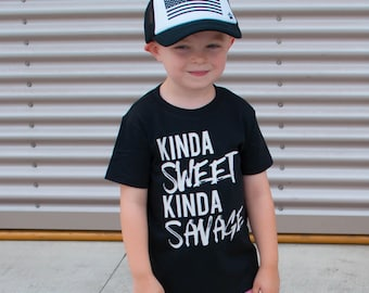 Kinda Sweet Kinda Savage - Unisex Kids Tees - Trendy Kids' Shirts - Savage Shirts - Humor Shirt - Kids Funny Shirts - Hipster Shirt