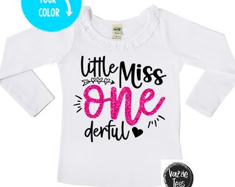 Little Miss ONEderful - 1st Birthday Shirt - Ruffle Collar Long Sleeve Girls' Tee - One year old - toddler girl - birthday shirts - ONE