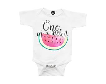 One in a Melon Baby Bodysuit - First Birthday - 1st Birthday - ONE Year Old - Toddler Girl - Fruit Birthday Theme - Watermelon - Summer