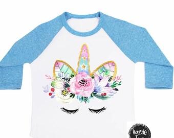 Unicorn Face Shirt - Unicorn Birthday - Floral Unicorn Face - Glitter Unicorn - Birthday Shirts - Unicorn Shirts - Girls' Shirts - Birthday