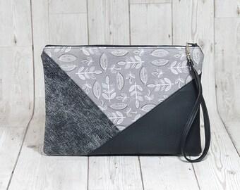 Grey clutch bag, Vegan clutch with leaves print, Fabric clutch bag, Geometric clutch evening purse, Simple clutch handmade wristlet clutch