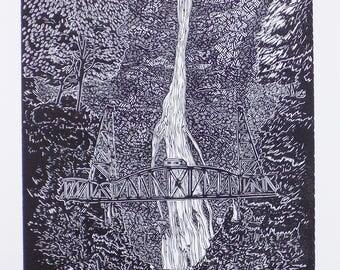 Multnomah / Hawthorne Linoprint