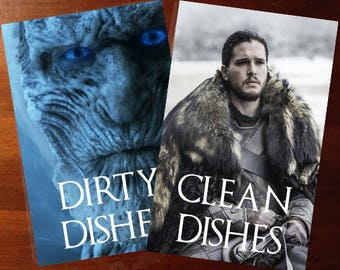 Winter is coming Jon Snow | Game of Thrones Reversible Dishwasher Magnet | Geek Kitchen | Clean Dirty Magnet | Game of Thrones