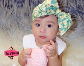 Sweet Floral Headwrap, Baby Head Wrap,  floral headwrap, Fabric Head Wrap, Newborn Head Wraps, Toddler Headwraps, turban baby headband